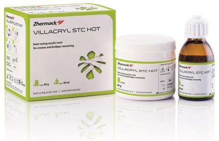 Villacryl STC HOT пластмасса горячей полимеризации для облицовки коронок и мостов, 80г. + 40мл.